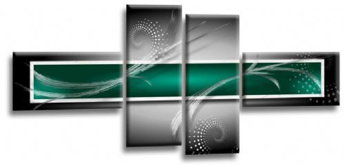 Abstract Canvas Wall Art Print Green Grey White Picture
